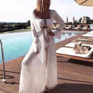 SpendWithJen Swim - Long White Crochet Beach Swim Coverup Tie Front